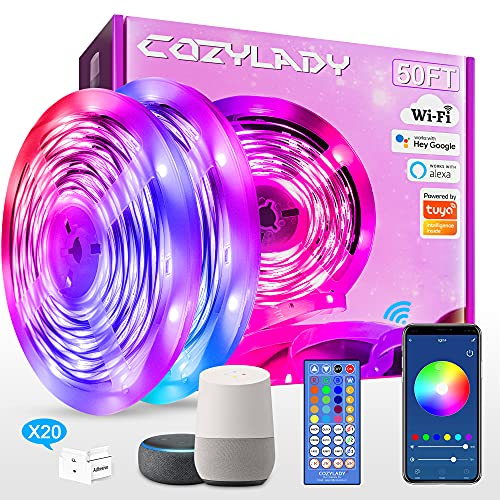Cozylady LED Strip Lights 50FT - WiFi Smart LED Light Strip Compatible with Alexa,Google Home Controlled by Smart APP - Music Sync LED Lights for Bedroom Decor, Room Decor, Children's Room