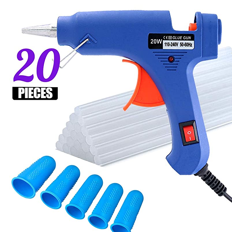 3 Pieces Finger Protectors Upgraded Mini Hot Melt Glue Gun with 20pcs Glue Sticks,Removable Anti-hot Cover Glue Gun Kit with Flexible Trigger for DIY Small Craft Projects (Blue, 20W) al500985999