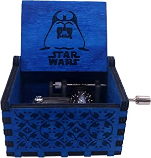 Star Wars Music Box Hand Crank Musical Box Antique Carved Wood Music Gifts for Christmas, Plays The Theme Song of Star Wars, Blue
