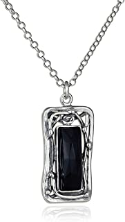 Stera Jewelry Retro Vintage Style Choice of Gemstone Rectangle Pendant 925 Sterling Silver Necklace