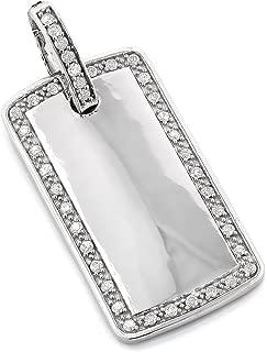 Luxurman Special 14K Gold Round Cut Natural 0.8 Ctw Diamond Unique Dog Tag Pendant