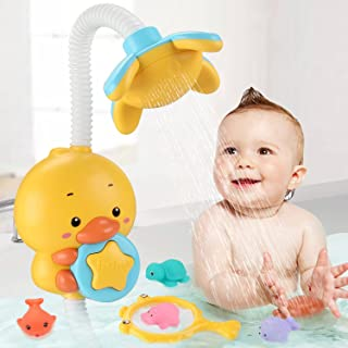 Sotodik Baby Bath Toys Electric Duck Water Pump with Hand Shower Sprinkler for Kids,Water Squirt Shower Faucet with Suctio...