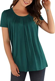 DJT Women's Short Sleeve Pleated Front A Line Comfy Tunic Tops