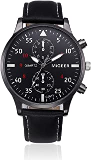 Classic Design Wrist Watches GREFER on Sale Clearance Leather Band Analog-Quartz Watch Men Gifts