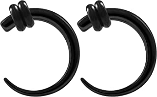 Pair Black Anodized Piercing Jewelry Curved Taper Ear Plug Stretching Expander Earring