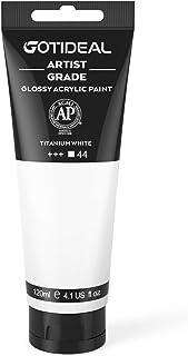 GOTIDEAL Acrylic Paint Titanium White Tubes(120ml, 4.1 oz) Non Toxic Non Fading,Rich Pigments for Painters, Adults & Kids,...