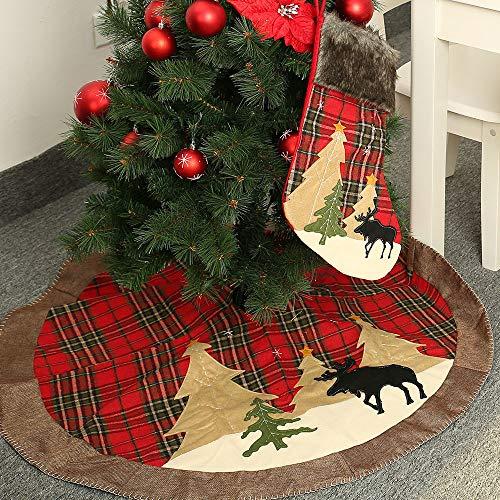 Walant Weihnachtsbaum Decke,Rot und Schwarz Plaid Weihnachtsbaum Rock Decke Christbaumständer Teppich Weihnachtsbaum Röcke für Weihnachts Neujahr Party Urlaub Dekorationen (Rentier)