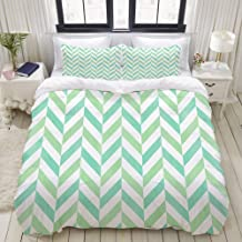 HKIDOYH Duvet Cover Set,Watercolor Mint Green and Seafoam Blue Stripes Chevron,Polyester 3 Piece Bedding Set with 2 Pillow...