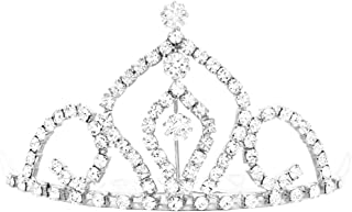 Rosemarie & Jubalee Women's Princess Regal Mini Tiara Crystal Hair Comb Crown (Silver Tone/Clear Crystal)