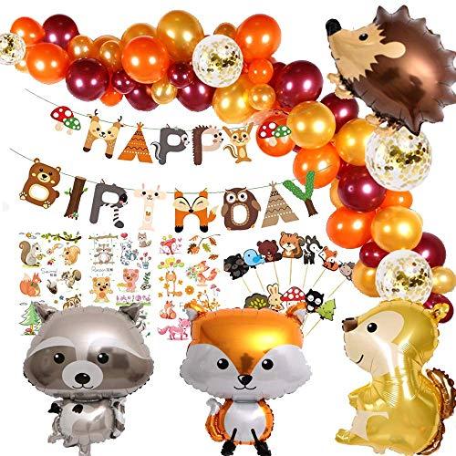 Finypa Animal Birthday Party Decorations, Woodland Happy Birthday Banner Hedgehog, Squirrel, Fox, Raccoon Animal Balloon Garland & Arch Kit for Boy Girl Baby Shower Birthday Supplie