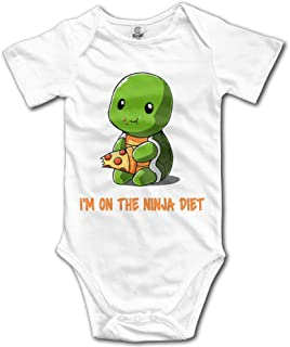 "Stylish home YEARla Unisex Baby Strampler Turtles I""m On The Ninja Diet 12 Monate, Weiß"