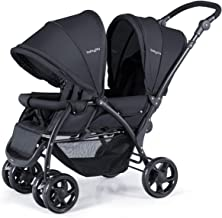 BABY JOY Double Baby Stroller, Foldable Double Seat Tandem Stroller with Adjustable Backrest, Push Handle and Footrest, Lo...