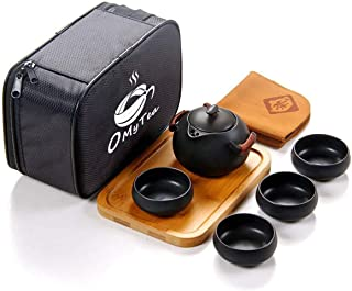 OMyTea 100% Handmade Chinese/Japanese Vintage Kungfu Gongfu Tea Set - Porcelain Teapot & Teacups & Bamboo Tea Tray & Tea Mat with a Portable Travel Bag (Black)