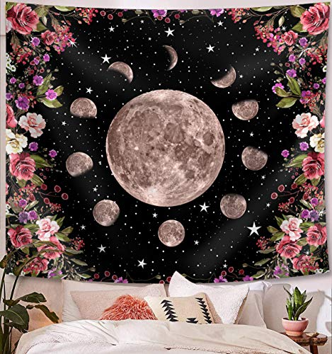 OCCIGANT Moonlit Garden Tapestry Wall Hanging Celestial Moon Phase Surrounded by Watercolor Colorful Vines and Flowers Starry Sky Night Wall Art Blanket for Living Room Bedroom Dorm Room.
