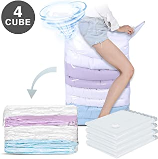 Hi Storage 4 PCS Vacuum Space Saver Bags, 1 Cube = 3 Regular Bags (31 x 40 x 15 inch Jumbo) No Pump or Vacuum Needed, Durable Travel Compressed for Seasonal Clothes, Pillows, Comforters, Blankets