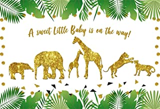 10x7ft Jungle Animals Baby Shower Backdrop for Photos Tropical Leaves A Sweet Little Baby is on The Way Golden Giraffe Elephant Tiger Background Photo Studio Props Vinyl