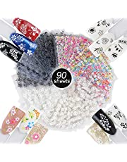 90 Hojas Pegatinas Uñas Decorativas Calcomanías Uñas Flores Nail Stickers para Decoración Arte de Uñas Negro + Blanco + Multicolor
