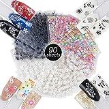 90 Fogli Adesivi Unghie Adesivo 3D Nail Stickers Adesivi Floreali Decalcomanie Decorazione...