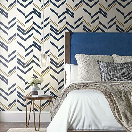RoomMates RMK9004WP - Papel tapiz con diseño de cheurón a rayas, despega y pega, 20.5' x 16.5 feet, Azul