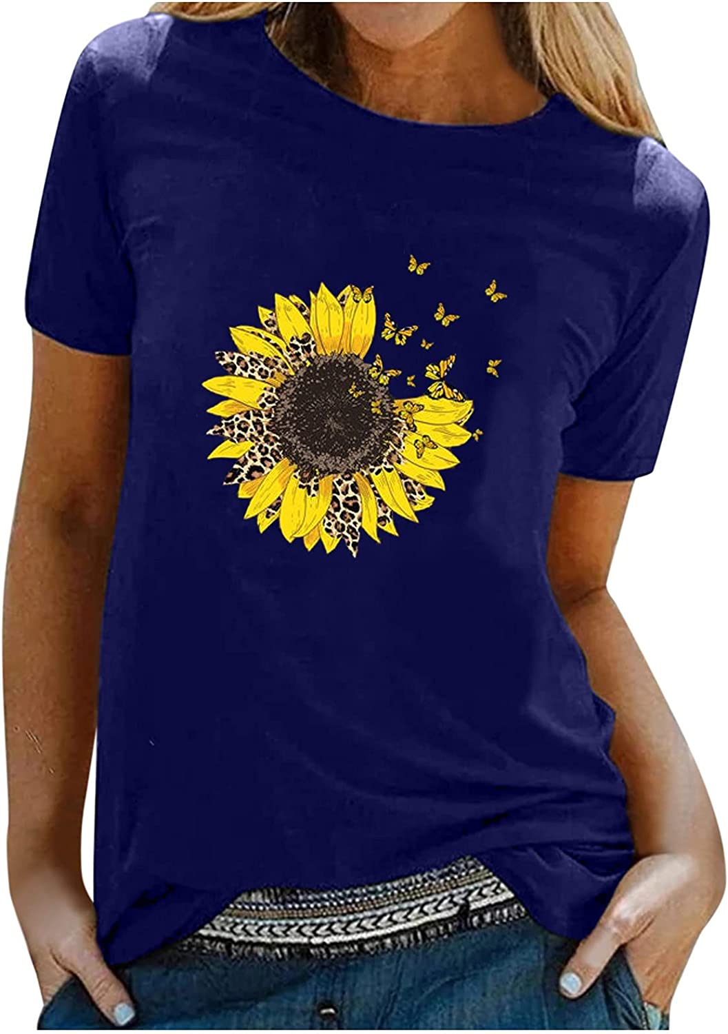 XINXX Womens Short Sleeve Graphic T Shirt Plus Size Sunflower Print Cute Funny Graphic Tees Casual Cotton Tunic Tops