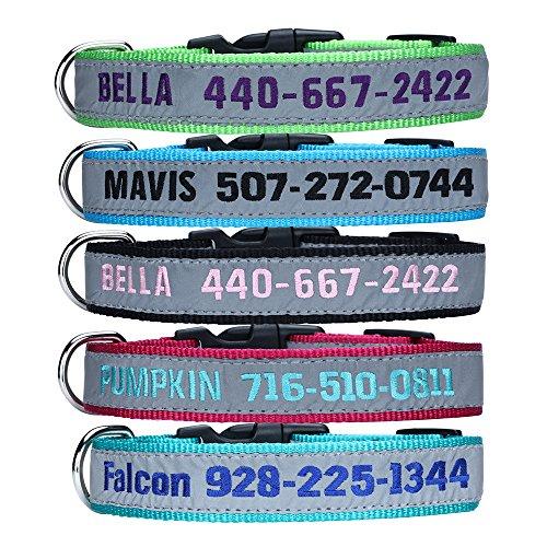 TaiHong - Collare per cani riflettente, personalizzabile con nome e numero di telefono, collare identificativo ricamato, multicolore, 4 misure regolabili: XS, S, M, L (normale)