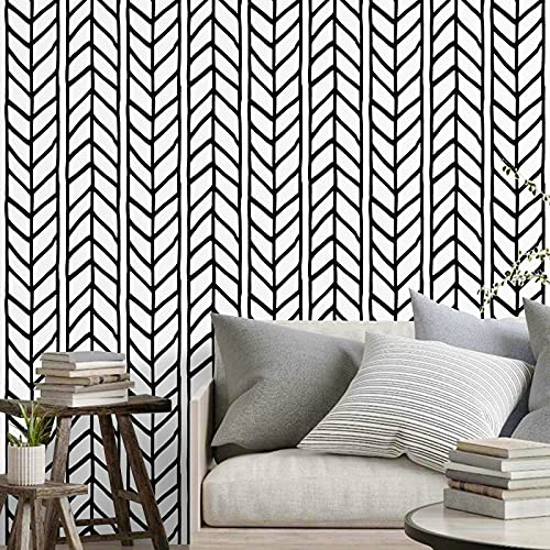 Black and White Wallpaper 17.71In × 157.4In Peel and Stick Wallpaper Modern Black and White Striped Herringbone Contact Paper for Bedroom Bathroom Laundry Self Adhesive Vinyl Easy to Remove