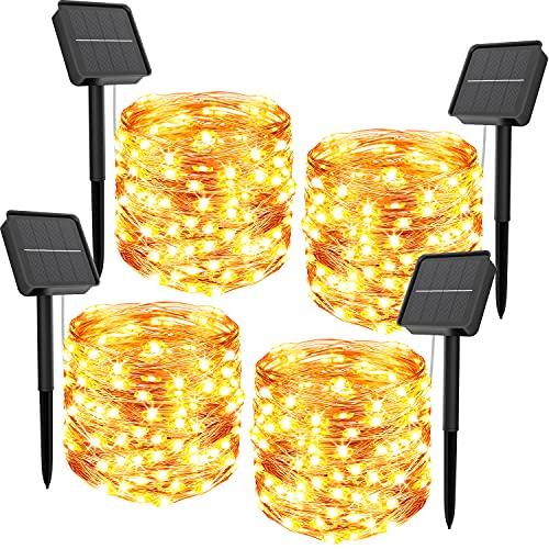 4 Pezzi Luci Solari Esterno,440LED 52m In totale Catena Luminosa Esterno Energia Solare Perlina Luci Oversize 8 Modalità Impermeabile Filo Rame Lucine da Esterno Decorative Per Giardino Natale Patio