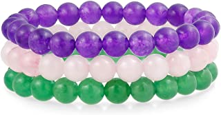 Bling Jewelry Unisex Stackable Set of 3 Gemstone Round Bead 8MM Stretch Bracelet for Women Teen Men Multi Strand Stacking ...