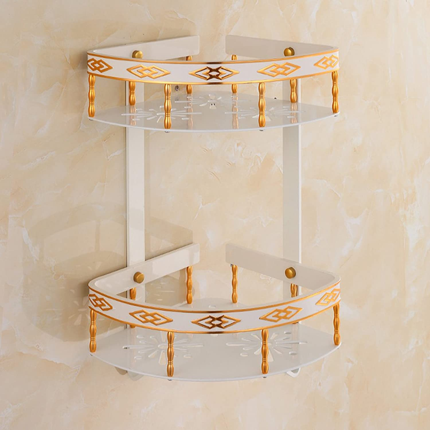 SYF Aluminum Baked White Lacquer Carved Triangle Basket Bathroom Wall Triangle Items Placed Rack (2 Floors) A+