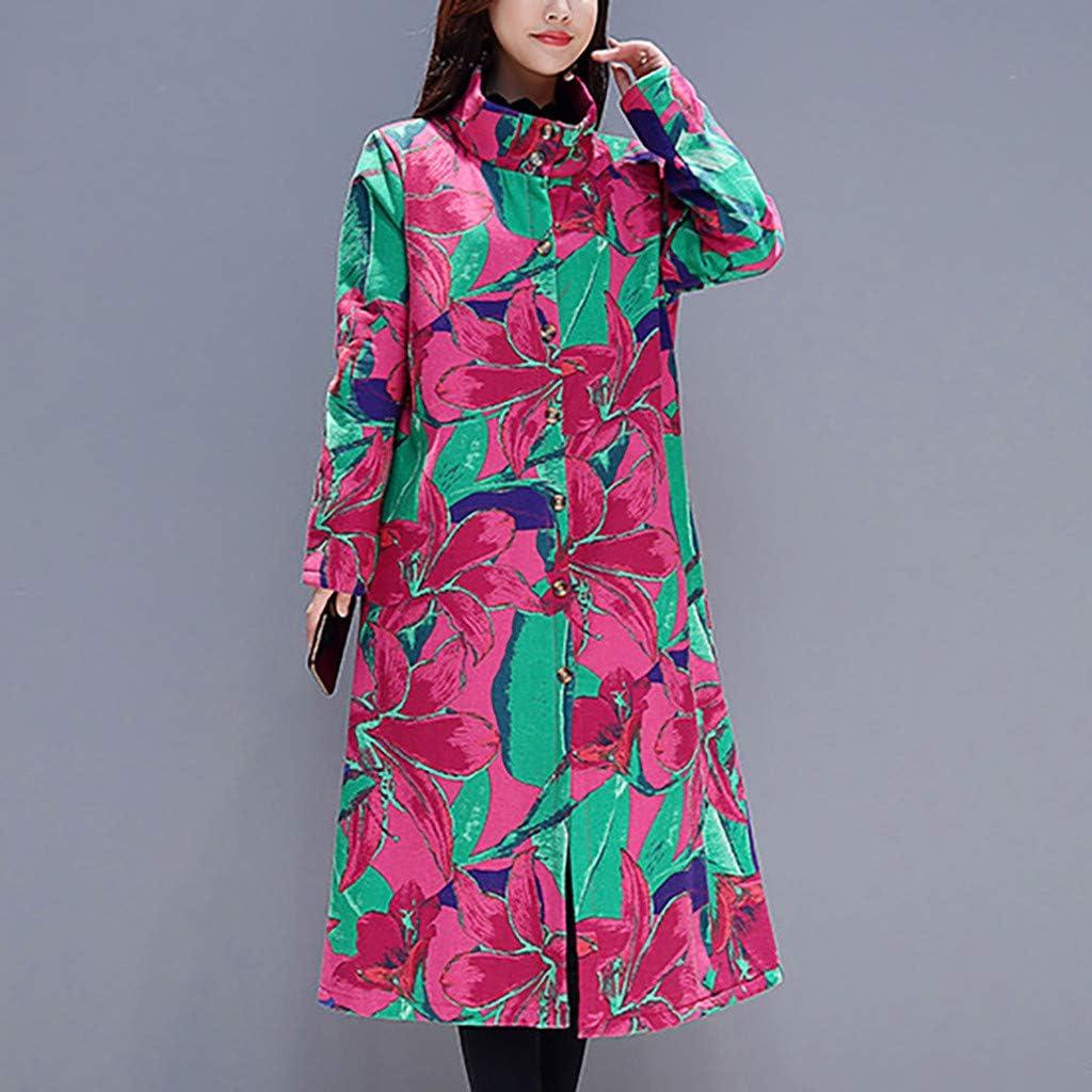 Damen Vintage chinesischen traditionellen Stil Blume Fleece Revers mit Kapuze Lange Mäntel Jacke Parka Mantel Strickjacke Trench Outwear Winter Qikoup Rosa C