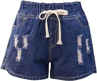 pipigo Womens High Waist Bandage Butt Lift Zip Up Destroyed Ripped Beach Shorts