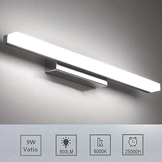 Luxvista 57CM 9W Lámpara de Aplique Espejo Baño LED Interior, Luz de Pared Maquillaje de Vidrio Esmerilado, Cuarto de Baño Delantera Lámpara Impermeable con Interruptor Cableado (Blanco Frío, Plata)