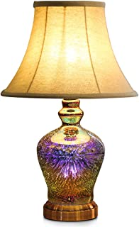 Table Lamp,Desk Lamp Bulb Included - Modern Lamp Unique Lampshade,Handmade 3D Effect Glass Base - Perfect Table in Bedroom,Bedside,Living Room,Office