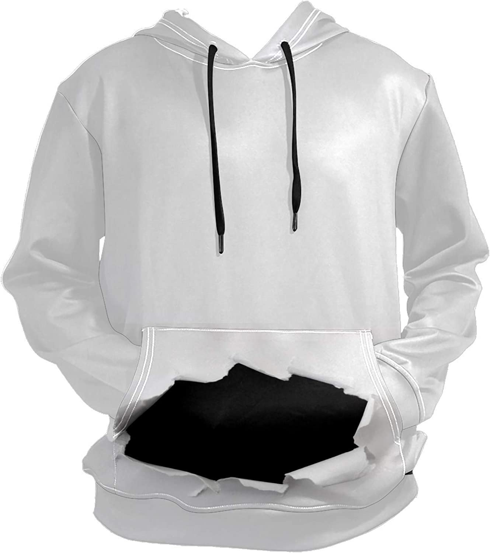 Torn Paper Space Black Hole Mens Sport Hoodie Big and Tall Hoodies for Men Women Oversized Hooded Sweatshirt Hip Hop Pullover Hoodie Midweight Hood for Boys Girls