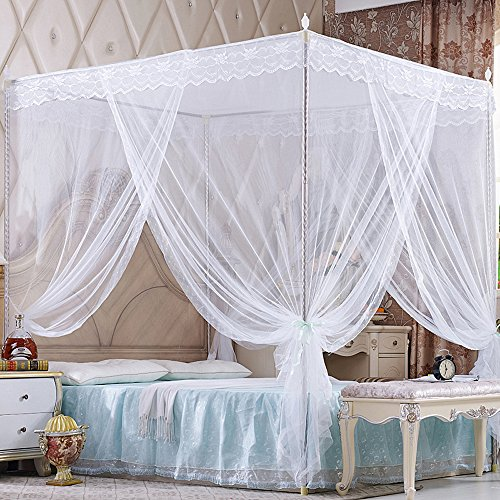 Nattey 4 Corners Princess Bed Curtain Canopy Canopies For Girls Boys Adults Bed Gift Bedroom Decoration (Full, White)