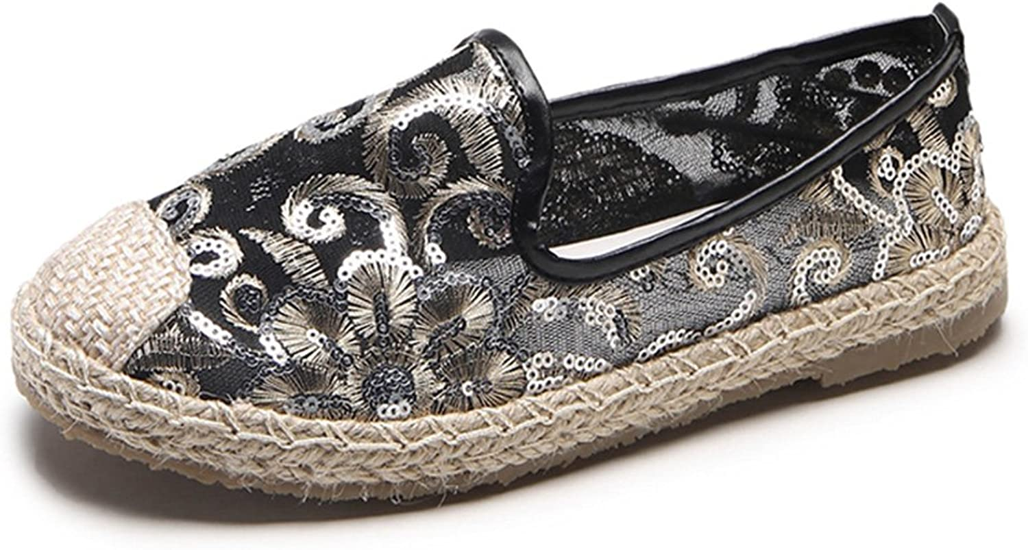 York Zhu Loafers for Women, Sequins Linen Straw Mesh Slip-On Fishermen shoes