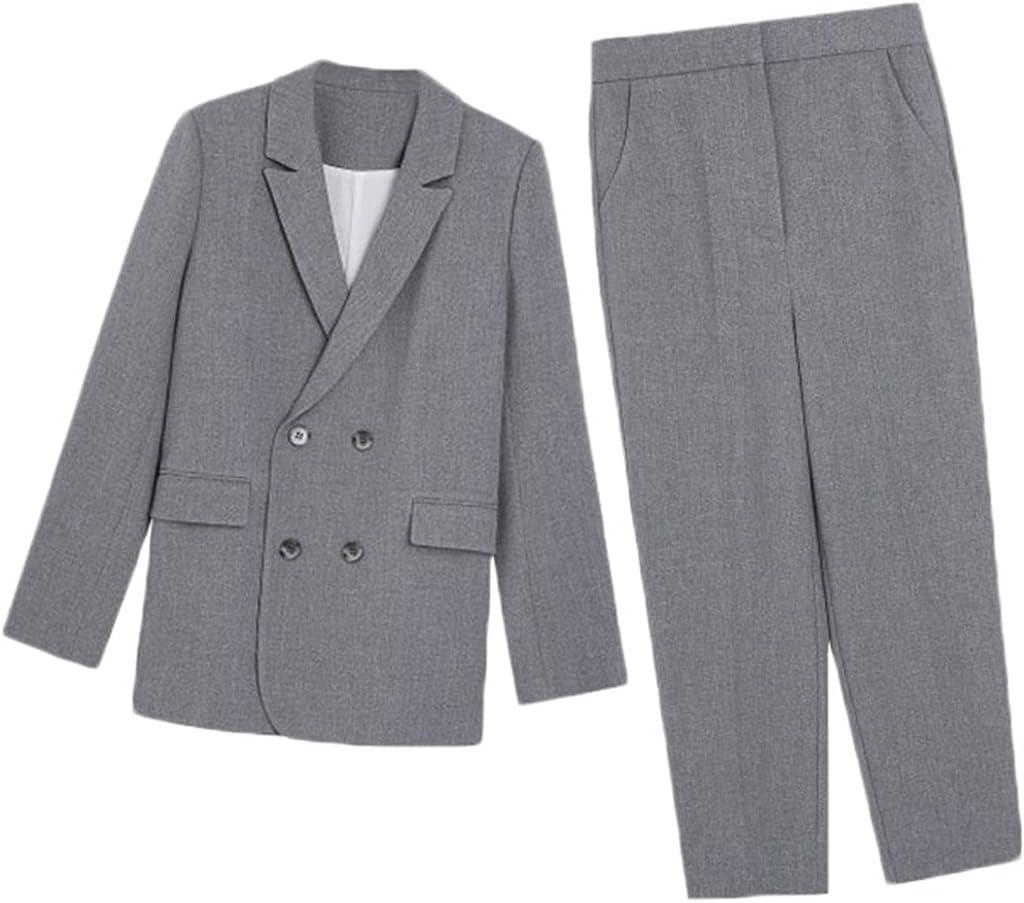 JJZXC Autumn Work Fashion Pant Suits 2 Piece Set for Women Blazer Jacket & Trouser Office Lady Slim Casual Spring Summer (Color : Gray, Size : XL)