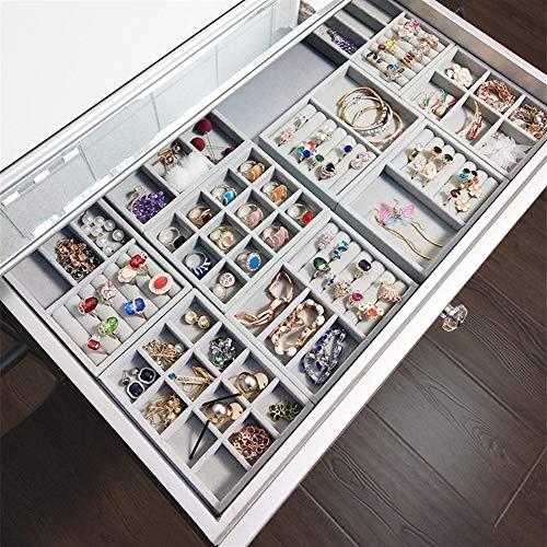 Cajas de almacenamiento de terciopelo gris de alta calidad para joyas, anillo, color gris C171