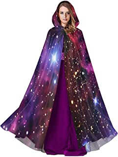 NTQFY Space Pattern Background Halloween Cloak Fancy Hooded Cape with Drawstring Adult Cool Witch Robe Extra Long 59