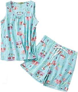 PNAEONG Women Cotton Sleepwear Short Sets Tank&Short Pajamas Sets XTSY208-Camping-2XL