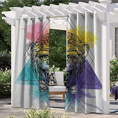 Outdoor Blackout Curtains Funny Monkey Animal with a Bowtie on Geometric Artistic Watercolor Style Backdrop Pergola Outdoor Drapes Protect You from Sun/Rain Multicolor W120 x L96 Inch