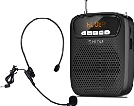 Portable Rechargeable Voice Amplifier with Wired Microphone Headset and Waistband 15W Support Bluetooth,FM Radio,Recording,AUX,MP3 Format Audio for Teachers Coaches, Training, Presentation, Tour Guide