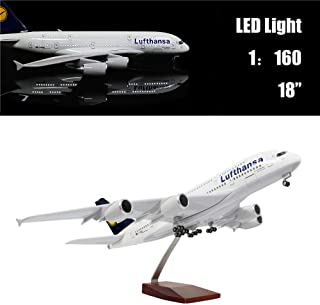"""24-Hours 18"""" 1:160 1 Scale Model Airplane Model Lufthansa A380 with LED Light(Touch or Sound Control) for Business Gift"""