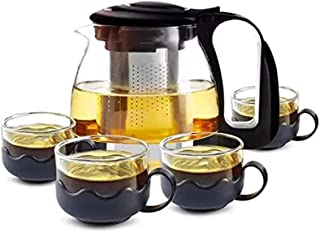 Five-Piece Glass Tea set, 1Teapot and 4 Cups,Teapot with Infuser, Home & Office Brewing Scented Tea and other Drinks