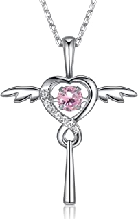 FOREVER QUEEN Birthstone Necklace with 'Dancing Heart', Infinity Love Angel Wings Heart Cross Pendant Necklace, 925 Sterling Silver CZ Necklace for Women Girls Birthday Gift,18+2 '' Extender