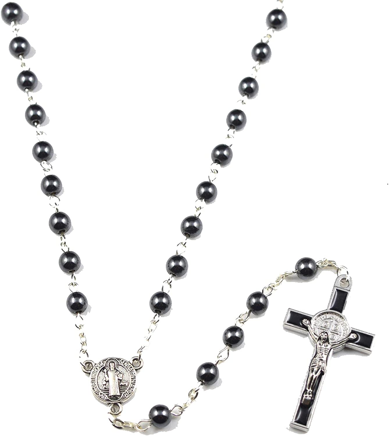 Black Natural Hematite Beads Catholic Ornaments Rosary Beaded Necklace With Crposs Pendant Alloy Strand Chain Jewelry