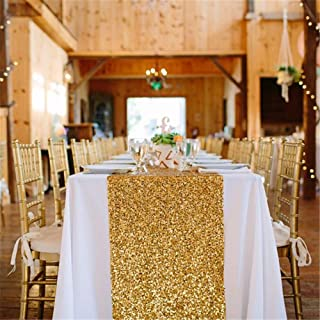 B-COOL High-Density Sequin Table Runner Elegant Sparkly 12x72inch Gold Shiny Table Runner Outdoor Garden Decorations