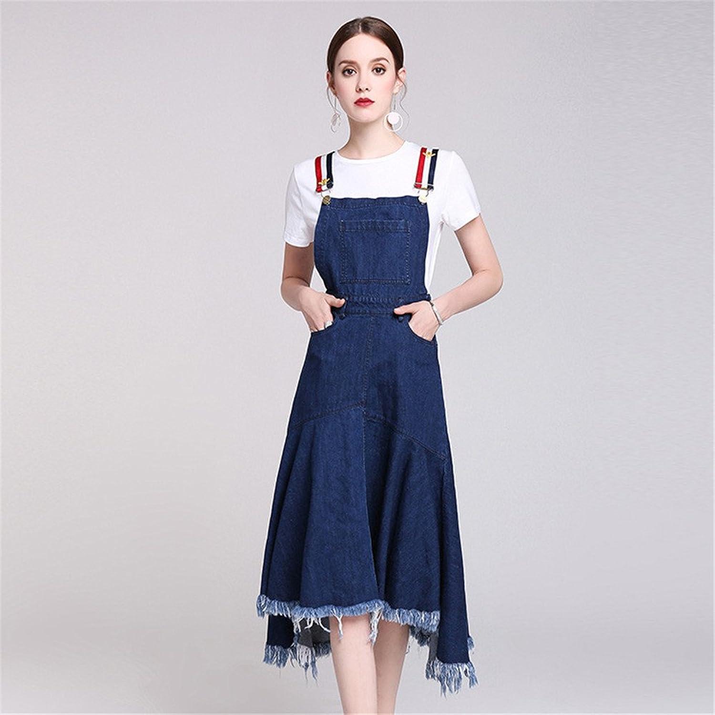 Nfgumnos European station casual suit women's short sleeved T-shirt strap denim dress two sets,bluee,M