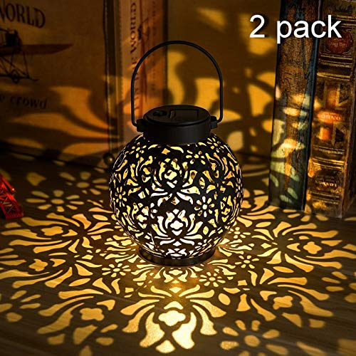 {2 Pack} Outdoor Solar Hanging Lantern Lights Metal LED Decorative Light for Garden Patio Courtyard Lawn and Tabletop with Hollowed-Out Design. 2 Color Options Black and Bronze.