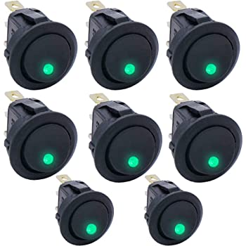 Twidec/8Pcs Round Dot Lighted Rocker Switch Toggle 20A 12V DC On/Off SPST Switch Control for Car Or Boat with Green LED Light KCD2-102N-G